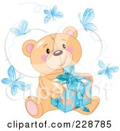 Royalty Free RF Clipart Illustration Of A Teddy Bear Sitting With A Blue Gift Surrounded By Butterflies