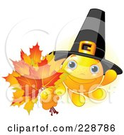 Pilgrim Sun Character Holding Fall Leaves