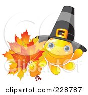 Royalty Free RF Clipart Illustration Of A Pilgrim Sun Character Holding Out Leaves