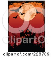 Royalty Free RF Clipart Illustration Of A Grungy Border Around A Full Moon And Bats Above A Haunted House And Red Sky