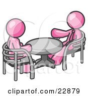 Clipart Illustration Of Two Pink Business Men Sitting Across From Eachother At A Table During A Meeting