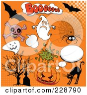 Digital Collage Of Halloween Comic Icons On Orange