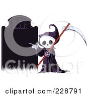 Cute Grim Reaper Holding A Scythe And Pointing To A Blank Gravestone
