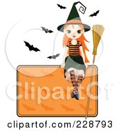 Royalty Free RF Clipart Illustration Of A Halloween Witch Girl Sitting On A Blank Sign With Bats by Pushkin