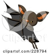 Royalty Free RF Clipart Illustration Of A Cute Flying Bat by Pushkin