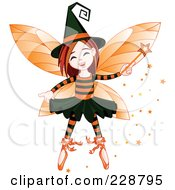 Royalty Free RF Clipart Illustration Of A Halloween Witch Fairy Girl by Pushkin