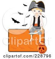 Royalty Free RF Clipart Illustration Of A Halloween Pirate Boy Sitting On A Blank Orange Sign With A Pumpkin Basket And Bats by Pushkin