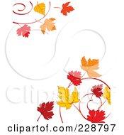 Border Of Autumn Leaf Swirls