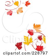 Royalty Free RF Clipart Illustration Of A Border Of Autumn Leaf Swirls by Pushkin