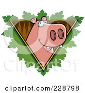 Royalty Free RF Clipart Illustration Of A Hippo Face Over A Safari Triangle With Leaves