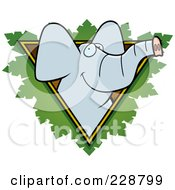 Royalty Free RF Clipart Illustration Of An Elephant Face Over A Safari Triangle With Leaves by Cory Thoman