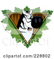 Royalty Free RF Clipart Illustration Of A Zebra Face Over A Safari Triangle With Leaves
