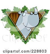 Royalty Free RF Clipart Illustration Of A Rhino Face Over A Safari Triangle With Leaves