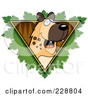 Royalty Free RF Clipart Illustration Of A Hyena Face Over A Safari Triangle With Leaves by Cory Thoman