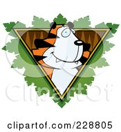 Royalty Free RF Clipart Illustration Of A Tiger Face Over A Safari Triangle With Leaves