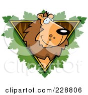 Royalty Free RF Clipart Illustration Of A Lion Face Over A Safari Triangle With Leaves