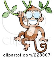 Royalty Free RF Clipart Illustration Of A Happy Monkey Swinging On A Vine by Cory Thoman