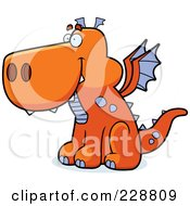 Royalty Free RF Clipart Illustration Of An Orange Dragon Sitting And Facing Left by Cory Thoman