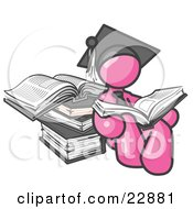 Clipart Illustration Of A Pink Male Student In A Graduation Cap Reading A Book And Leaning Against A Stack Of Books
