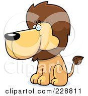 Royalty Free RF Clipart Illustration Of A Lion Sitting And Facing Left by Cory Thoman