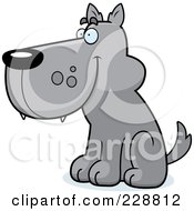Royalty Free RF Clipart Illustration Of A Wolf Sitting And Facing Left by Cory Thoman
