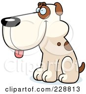 Royalty Free RF Clipart Illustration Of A Dog Sitting And Facing Left