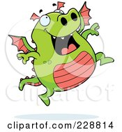 Royalty Free RF Clipart Illustration Of A Green Dragon Jumping