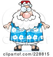 Royalty Free RF Clipart Illustration Of A Chubby Santa In A Hawaiian Shirt by Cory Thoman