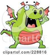Royalty Free RF Clipart Illustration Of A Green Dragon With An Idea