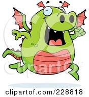 Royalty Free RF Clipart Illustration Of A Green Dragon Running