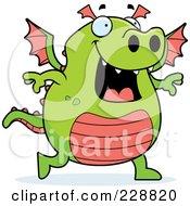 Royalty Free RF Clipart Illustration Of A Green Dragon Walking