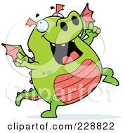Royalty Free RF Clipart Illustration Of A Green Dragon Dancing