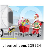 Royalty Free RF Clipart Illustration Of Santa Pushing A Shopping Cart Of Christmas Presents To A Truck