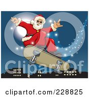 Royalty Free RF Clipart Illustration Of Santa Riding On A Magic Flying Skateboard Over A City by David Rey