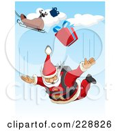 Royalty Free RF Clipart Illustration Of Santa Sky Diving From His Sleigh