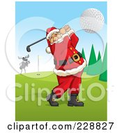 Royalty Free RF Clipart Illustration Of Santa Swinging A Golf Club On A Course by David Rey