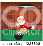 Royalty Free RF Clipart Illustration Of Santa Leaning Over A Billiards Table A Shadow Of Rudolph On The Wall by David Rey