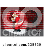Royalty Free RF Clipart Illustration Of Santa Getting Caught Spray Painting Graffiti On A Brick Wall A Reindeer Running Away by David Rey