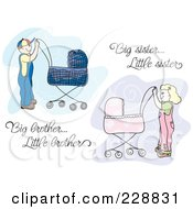 Royalty Free RF Clipart Illustration Of A Digital Collage Of A Big Brother And Big Sister Pushing Prams With Text