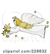Royalty Free RF Clipart Illustration Of A Folk Art Styled Angel With Stars by inkgraphics