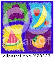 Royalty Free RF Clipart Illustration Of A Digital Collage Of Painted Fruits On Blue by inkgraphics