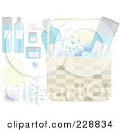 Royalty Free RF Clipart Illustration Of A Digital Collage Of Gift Basket Items by inkgraphics