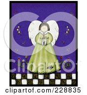 Royalty Free RF Clipart Illustration Of A Folk Art Styled Spring Angel Holding Tulip Flowers by inkgraphics