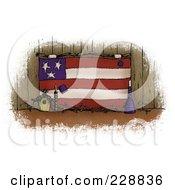 Vintage Folk Art American Flag With A Birdhouse Against Wood