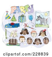Royalty Free RF Clipart Illustration Of A Digital Collage Of Birthday Children And Items by inkgraphics