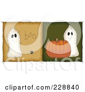 Royalty Free RF Clipart Illustration Of A Digital Collage Of Two Folk Art Style Quilt Halloween Ghost Squares by inkgraphics