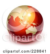 Royalty Free RF Clipart Illustration Of A 3d Red And Gold Shiny Earth Featuring Asia And Australia