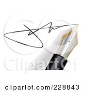 Royalty Free RF Clipart Illustration Of A 3d Fountain Pen Writing A Signature