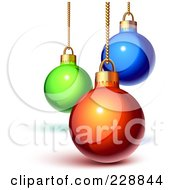 Royalty Free RF Clipart Illustration Of Shiny 3d Green Blue And Red Christmas Baubles Suspended From Gold Chains by Oligo #COLLC228844-0124