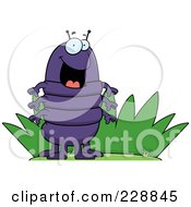 Royalty Free RF Clipart Illustration Of A Happy Centipede By Grass by Cory Thoman